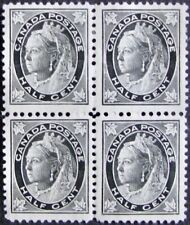 #66 CANADA MH/MNH F/VF Block of 4 Queen Victoria 1/2 Cent from1897