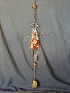 Weihnachtshänger, Windspiel Meltall und Glas Weihnachtsengel mit Glocke Neu