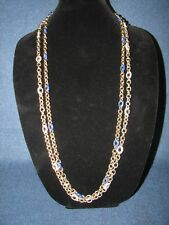 "2 J Crew Gold Tone Blue / White Enameled Chain Link Necklaces 38"" Signed"