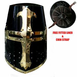Medieval Knight Armor Crusader New Templar Helmet Helm with Mason's Brass Cross