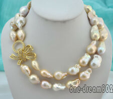 "Natural 2Strands 30mm baby pink reborn keshi baroque pearl necklace 18""-20"
