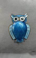David Andersen Owl Norway Sterling Silver Blue Enamel Pin Brooch Scandinavian