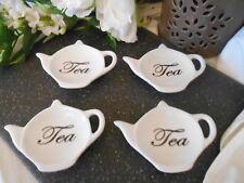 Set: 4xTeebeutelablage,Teebeutelhalter, Schale, Tee, Tasse Glas Porzellan Tisch