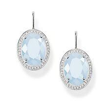 Genuine Thomas Sabo Silver Oval Blue Aquamarine & CZ Drop Earrings H1844