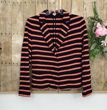 Womens J. Crew Soft Cotton Blazer sz Large Stripes