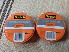 Scotch Decorative Masking Tape Tangerine Orange Lot Of 2 One Inch by 20 Yards 3M