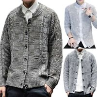 Mens Knitted Cardigan Thick Warm Button Autumn Winter Casual Slim Sweater Jumper