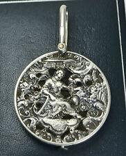 1901 Chester ST SILVER Double Sided SLIDE MIRROR Pendant by Cornelius Saunders