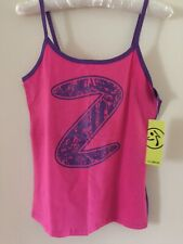 ZUMBA WEAR 'LET'S GLOW' SPAGHETTI STRAP TANK TOP - BACK TO THE FUCHSIA - SIZE S