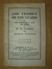 VINTAGE GILBERT & SULLIVAN OPERA SCRIPT THE YEOMEN OF THE GUARD - WORDS ONLY
