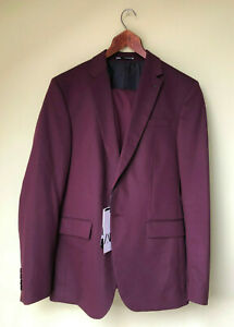 Men's Zara Two Piece Suit - Burgundy/Wine - 38R (UK) - Brand New with Tags