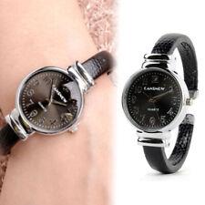 Casual Women Stainless Steel Snakeskin Leather Bangle Cuff Quartz Bracelet Watch