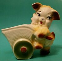 MCM Ceramic Planter adorable puppy with cart Vtg nursery decor or shower gift