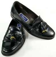 Bragano Loafers Mens Size 9.5 M Black Leather Dress Shoes Tassels Made in Italy