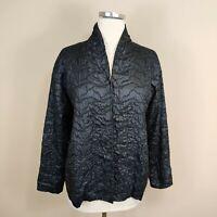 Eileen Fisher Petite S Tussah Silk Jacket Black Textured Embroidered