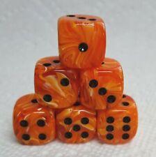 Dice -*6* 16mm Chessex Vortex Orange w/Black Pips>Swirls of Orange, Pops of More