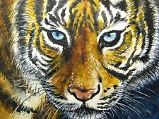 Watercolor Painting Tiger Face Big Blue eyes Cat Wild Animals Aceo Art .
