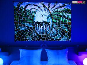 UV BACKDROP Black Light Fluorescent Glow Psychedelic Art Banner Tapestry Deco