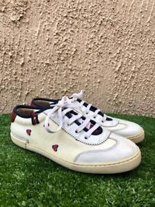 Gucci GG Monogram Ebon Web Suede Canvas Leather White Sneakers