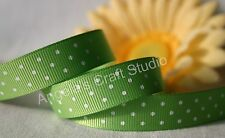 "1 Metre GREEN / WHITE POLKA DOT 16mm (5/8"") Grosgrain Ribbon - Hair Bow Sew Trim"