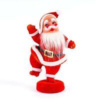 """Vintage Hard Plastic Flocked Felt Jolly Santa on Stand Christmas Decoration 7"""" H"""