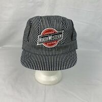 Vintage Chicago Northwestern System Hat Railroad Snapback Denim Striped Made USA