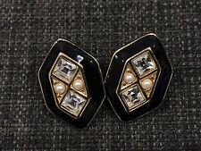 Monet Hexagon Art Deco Black Gold Diamond Pearl Clip On Earrings