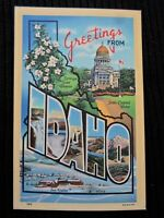 Postcard Large Letter Greetings from Idaho Capitol Sun Valley Unposted Linen 18B