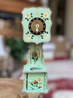 VTG German Wooden Wind-Up Pendulette Miniature Grandfather Clock HECO hand Paint