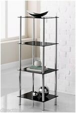 New York Signature 4 tier black tempered glass chrome legs shelving unit stand
