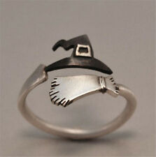 Halloween Ghost Witch Broom Finger Ring Open Rings Party Cosplay Jewelry Gift
