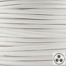 Textilkabel, Stoffkabel, Farbe Weis 3 adrig 3 x 1,5 mm² rund (Meterware)