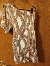 Size 1/2 Ivory with Copper/Bronze Sequins Dress EXCELLENT Condition Worn Once