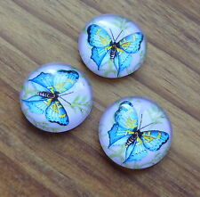 10 pcs Glass cabochon round 16 mm with blue butterfly