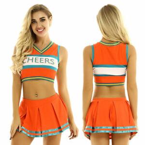 Womens Cheer leader Costume School Girl Uniform Pleated Skirt Crop Top Outfits