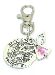 October Birthstone Guardian Angel & St Christopher Keyring safe travels gift