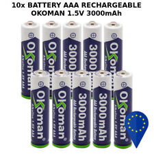 10x BATTERY 0K0MAN AAA 3000mAh 1.5V BATTERIA RECHARGEABLE ALKALINE MINI STILO