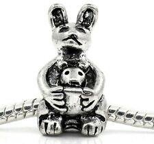 Mother & Baby Kangaroo Australia Animal Bead fits Silver European Charm Bracelet