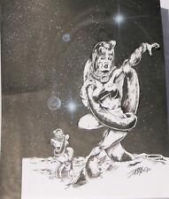 "DAVE MILLER original art, PLANET ATTACK, Sci-fi, Women, Tentacles,11"" x 14"",1994"