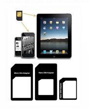 2 ADATTATORI MICROSIM E SIM NANOSIM APPLE IPAD1-2-3-MINI IPHONE 3G-3GS-4-5 NUOVO