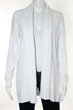 Theory White Cotton Ribbed Knit Cardigan Sweater Size Medium