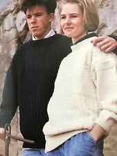 """U9 - Knitting Pattern - His & Hers Unisex Guernsey Style Jumper - Sizes 34-42"""""""