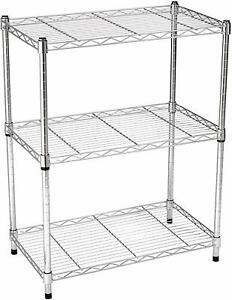 3 Tier Chrome Metal Storage Rack/Shelving Wire Shelf Kitchen/Office/Garage Unit
