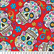 Skulls Day Of The Dead Red Anti-Pill Fleece Fabric By The Yard