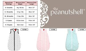 Peanut Shell Baby Girl Boy Sleeping Bags Tog 1.0 100% Cotton Zipper 6-18m 18-36m