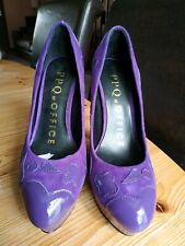 PPQ @ Office Purple Leather Temperance Stiletto Heel Shoes Size 4 /37 Brand New