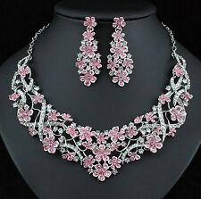 Plum Blossom Pink Austrian Rhinestones Crystal Necklace Earrings Set Prom N925p