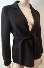 S MAXMARA Brown Virgin Wool & Cashmere Plunge V Neck Tie Waist Belt Jacket UK10