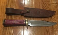 "CHIPAWAY CUTLERY HUNTING KNIFE NIB Steel Blade 12"" Pink W/LEATHER SHEATH GW-3147"
