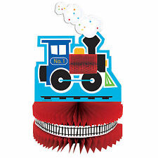 """12"""" All Aboard Boy's 1st Birthday Party Table Honeycomb Centerpiece Decoration"""